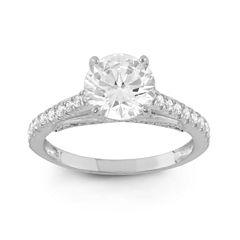 Diamonart Womens 2 1/4 CT. T.W. Lab Created Round White Cubic Zirconia 10K Gold Engagement Ring