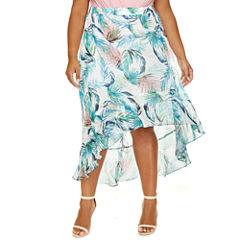 Carlie Palm Print Chiffon Hi Lo Skirt