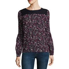 Liz Claiborne Long Sleeve Round Neck Woven Floral Blouse