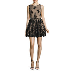 Trixxi Sleeveless Embroidered Party Dress-Juniors