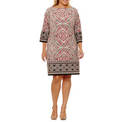 London Times 3/4 Sleeve Paisley Sheath Dress-Plus
