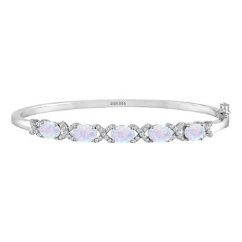 Lab Created White Opal Sterling Silver Bangle Bracelet