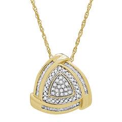 Womens 1/4 CT. T.W. White Diamond Gold Over Silver Pendant Necklace