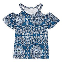 Insta Girl Printed Flutter Cold Shoulder Sleeve Fashion Top - Girls' 7-16