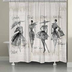 Laural Home Fashion Sketchbook Shower Curtain