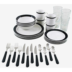 Gibson Essex 32-pc. Combo Dinnerware Set- Black
