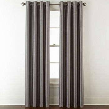 JCPenney Home Plaza Blackout Grommet-Top Single Curtain Panel