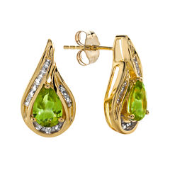 Pear-Shaped Genuine Peridot and Lab-Created White Sapphire Earrings