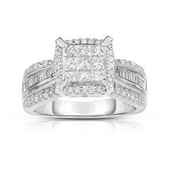 1 CT. T.W. Diamond 10K White Gold Princess-Cut Multi-Top Ring