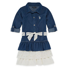 Us Polo Assn. Belted Long Sleeve Roll Tab Sleeve Skater Dress - Toddler Girls