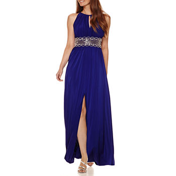 f862e60051 R & M Richards Sleeveless Embellished Halter Evening Gown