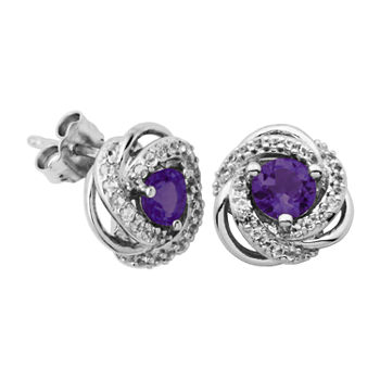 Silver Treasures Amethyst Sterling Silver 10mm Round Stud Earrings