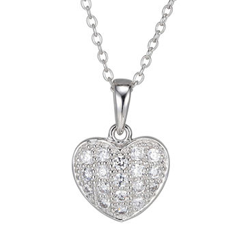 Silver Treasures Cubic Zirconia Sterling Silver 16 1/2 Inch Cable Heart Pendant Necklace