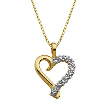 Silver Treasures Diamond Accent 18K Gold Over Silver 18 Inch Cable Heart Pendant Necklace