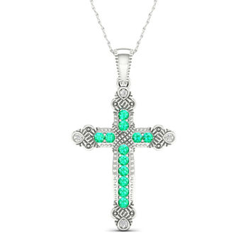 Womens Genuine Green Emerald 10K White Gold Cross Pendant Necklace
