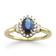 Genuine Sapphire & 1/4 CT. T.W. Diamond 10K Gold Ring