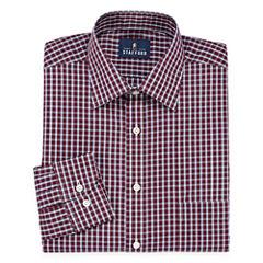 Stafford Travel Easy-Care Broadcloth Long Sleeve Broadcloth Plaid Dress Shirt
