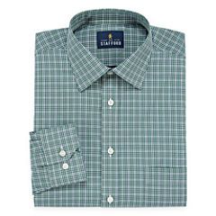 Stafford Travel Easy-Care- Big And Tall Long Sleeve Broadcloth Checked Dress Shirt