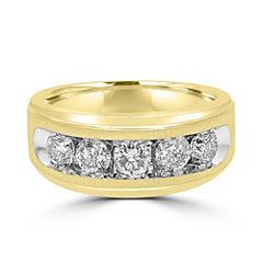 Mens 1 1/2 CT. T.W. Genuine Diamond 10K Gold Band