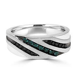 Mens 1/3 CT. T.W. Color Enhanced Multi Color Diamond 10K Gold Band