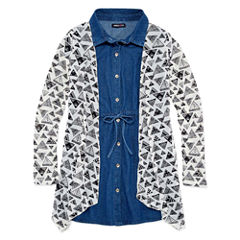 Limited Too Short Sleeve Denim Shirt Dress with Cardigan- Girls' 7-16