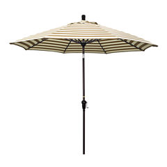 California Umbrella 9' Sunset Series Stripe Olefin Patio Umbrella With Bronze Aluminum Pole Aluminum Ribs Auto Tilt Crank Lift