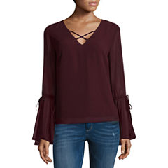 Heart N Soul Long Sleeve V Neck Chiffon Blouse-Juniors