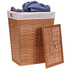 Household Essentials® Bamboo Lidded Hamper