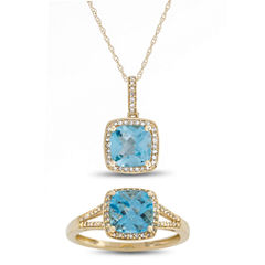 Womens 2-pc. 1/4 CT. T.W. Blue Topaz 10K Gold Jewelry Set