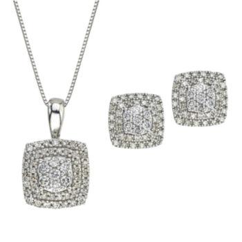 Fine Jewelry Womens 2-pc. 1/3 CT. T.W. Blue Aquamarine 10K Gold Jewelry Set