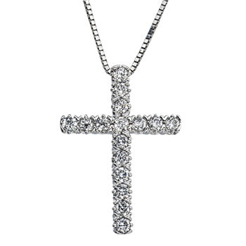 Womens 1/4 CT. T.W. Genuine White Diamond 10K Gold Cross Pendant Necklace