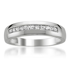Mens 1/2 CT. T.W. White Diamond Platinum Wedding Band