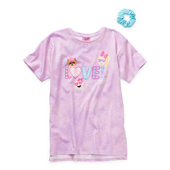 Jojo Siwa Tees With Scrunchie Little & Big Girls Crew Neck JoJo Siwa Short Sleeve Graphic T-Shirt
