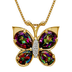 Genuine Mystic Topaz Diamond-Accent Butterfly 14K Gold Over Silver Pendant