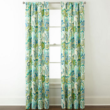 Home Expressions Charlotte Paisley Light-Filtering Rod-Pocket Set of 2 Curtain Panel