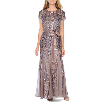 R & M Richards Short Sleeve Sequin Evening Gown