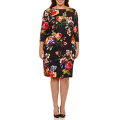 Bisou Bisou Elbow Sleeve Floral Sheath Dress-Plus