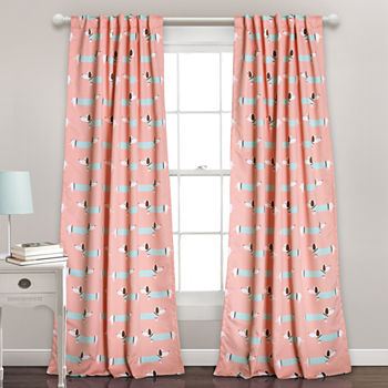 Lush Decor Sausage Dog 2 Pack Room Darkening Curtain Panel