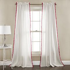 Lush Decor Linen Pom Pom 2-Pack Curtain Panel