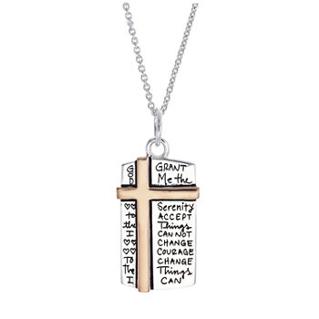 Footnotes Faith Sterling Silver 16 Inch Link Cross Pendant Necklace Set