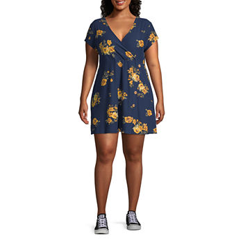 Arizona Short Sleeve Skater Dress-Juniors Plus