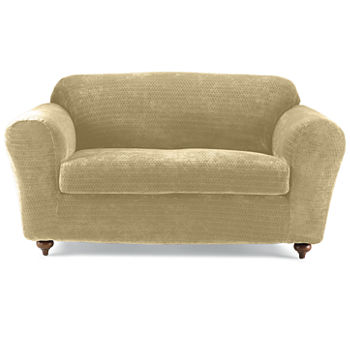 Fabulous Sure Fit Royal Diamond Stretch 2 Pc Loveseat Slipcover Gmtry Best Dining Table And Chair Ideas Images Gmtryco