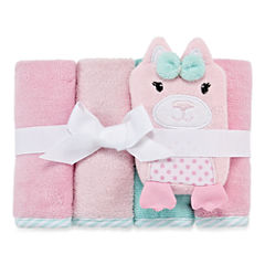 Okie Dokie Girl 4 Pack Wash Cloth Set- Pink Cat