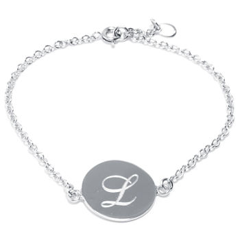 Silver Treasures Initial 7 Inch Cable Link Bracelet