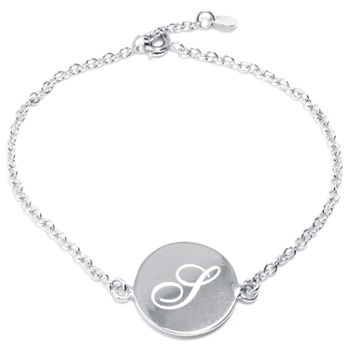 Silver Treasures Letter S 7 Inch Cable Link Bracelet