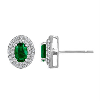 Oval Simulated Emerald Sterling Silver Stud Earrings