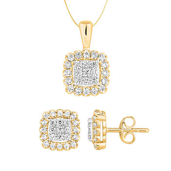 Diamond Blossom 3/4 CT. T.W. Genuine White Diamond 14K Gold 2-pc. Jewelry Set