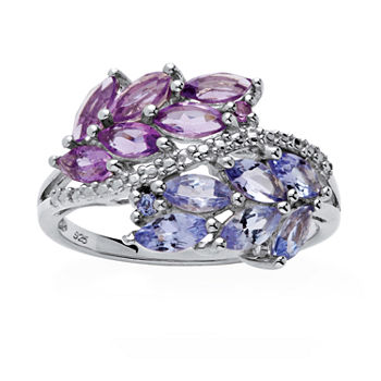 Womens Genuine Purple Amethyst Platinum Over Silver Cocktail Ring