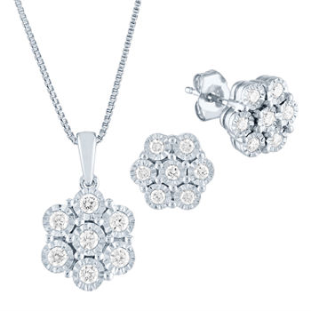 1/2 CT. T.W. Genuine Diamond Sterling Silver Flower Jewelry Set