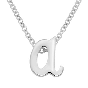 Itsy Bitsy Initial Sterling Silver 17 Inch Cable Pendant Necklace